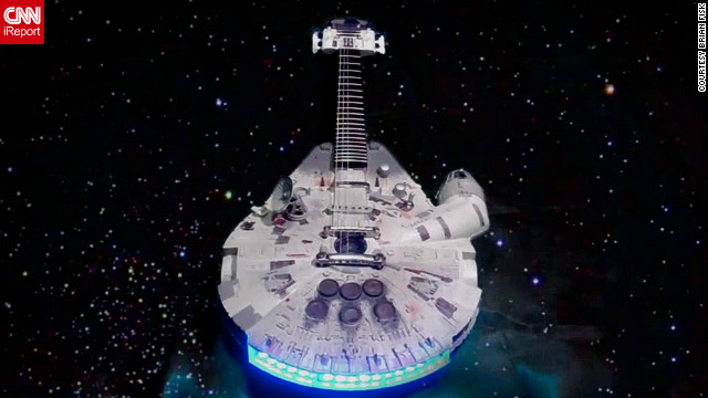 Rocking out with a Millennium Falcon guitar