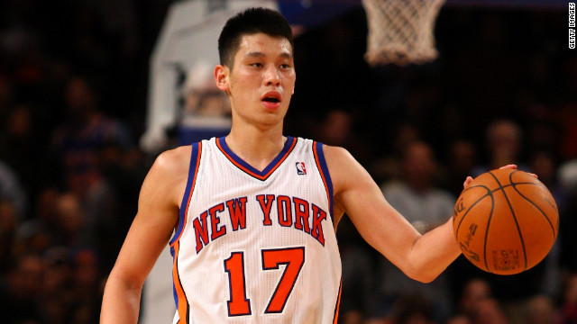 Jeremy Lin holds the ball as the New York Knicks play the Los Angeles Lakers in New York last week.