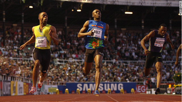 The American beat triple Olympic champion Usain Bolt in the 100 meters final at a Diamond League meeting held in Stockholm, Sweden in 2010.