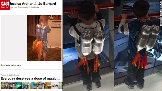"Jessica Archer created these <a href='http://ireport.cnn.com/docs/DOC-743275'>rocket packs</a> for her sons after finding inspiration on Pinterest. She says her boys ""both think Detroit's Renaissance Center is huge space ship, so I figured this project would be the perfect time to 'blast off' to the top of it."" The rockets are made of spray-painted soda bottles!"
