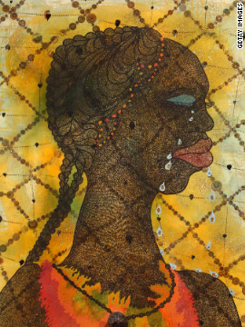Artist Chris Ofili was born in Manchetser, England to Nigerian parents. His work has drawn inspiration from a research trip to Zimbabwe. He is a former winner of Britain's prestigious Turner Prize for art, and his works include &quot;No Woman, No Cry,&quot; pictured.