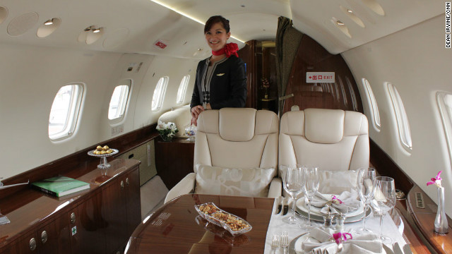 As Jackie likes it. Maybe. The interior of kung-fu star Jackie Chan's new Embraer 650.
