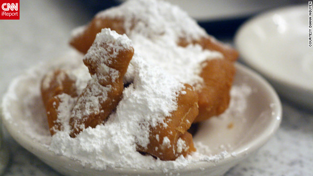 "It's time to party, with Mardi Gras celebrations under way in New Orleans. So go ahead and start working on a strong foundation of greasy deliciousness such as these beignets at Cafe du Monde. Check out our top reader picks in ""<a href='http://www.cnn.com/2012/02/17/travel/destination-usa-new-orleans-food/index.html'>Best bites in the Big Easy</a>."""