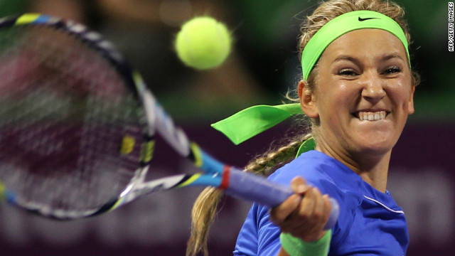 Victoria Azarenka moved into the Qatar Open quarterfinals after a comfortable win over Simona Halep.