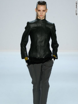 Fitted military-style leather jackets and pant suits were prominently featured during New York Fashion Week, like this ensemble from Narciso Rodriguez.