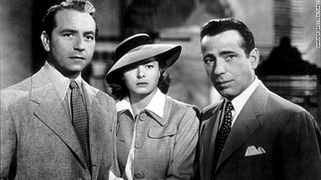 "In ""Casablanca,"" Humphrey Bogart plays the cynical Rick Blaine, torn between reconciling with his ex-lover Ilsa Lund (Ingrid Bergman), and helping her escape the Moroccan city with her husband (Paul Henreid) during World War II. In the end, Blaine lets her go, and says, ""Here's looking at you, kid.""<br/><br/>"
