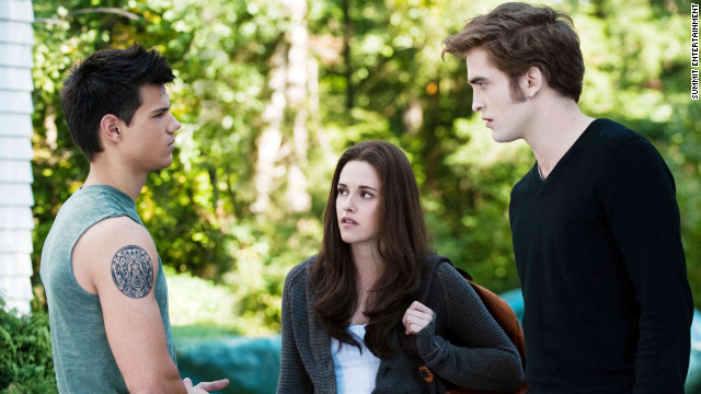 "Up until the franchise's third installment, ""Eclipse,"" Bella Swan (Kristen Stewart) struggles to choose between her vampire boyfriend, Edward (Robert Pattinson), and her werewolf friend, Jacob (Taylor Lautner). In the end, Bella chooses to be with Edward."