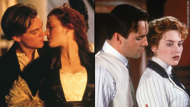 Rose (Kate Winslet) is engaged to Cal (Billy Zane) when the pair boards the Titanic, but she ends up falling for another passenger, Jack (Leonardo DiCaprio). Though Jack eventually dies while Cal makes it to safety, Rose chooses to leave the scene and move on with her life.