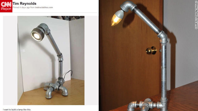 "And Pinterest-prompted projects aren't just for the girls! Tim Reynolds built this <a href='http://ireport.cnn.com/docs/DOC-746757'>industrial-looking lamp</a> after gathering a bunch of similar lamps on a pinboard. ""After gathering several other pipe lamp images on my board, I couldn't stand not trying my hand at building one myself. So, I made a trip to Home Depot and bought the parts I wanted and put it all together,"" he said. Reynolds had only been on Pinterest for about a week at the time. ""I've never been much of a person who cut things out of magazines...so, as a person who embraces tech, Pinterest was a great fit,"" he said."