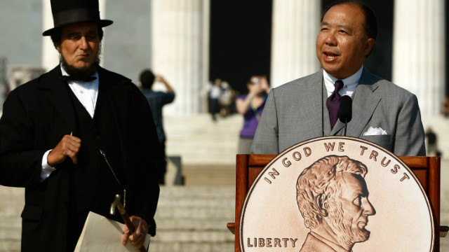 A ceremony for a newly designed penny is held in 2009. Robert Whaples says it's time to put an end to the pretty penny.