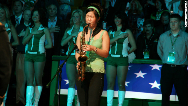 She doesn't just play concert halls. In 2009, she played the national anthem at a Boston Celtics game.