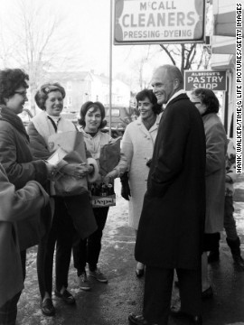 The Glenns campaign in Ohio, 1964. John Glenn did not win his 1964 campaign. Ten years later, in 1974, he was elected to the U.S. Senate, where he served four terms.