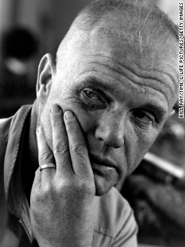 USMC Col. John Glenn in 1964. In 1998, John Glenn again flew into space, this time aboard the Space Shuttle Discovery. His role in the mission was, in large part, to study the effects of space flight on the elderly. He was 77 at the time.