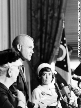 "John Glenn announces his candidacy for U.S. Senate, Columbus, Ohio, 1964.""In his only previous contacts with high-level politicians of both parties,"" LIFE wrote in 1964, ""John Glenn has been the object of admiration and affection; for the people in general he has been virtually above reproach. Now, suddenly, his hero's immunity is gone. He must stand still for hard looks and hard questions by men who have long studied all the answers."""