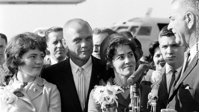 Glenn and his family visit with Vice President Lyndon Johnson, far right, two days after his historic orbital flight aboard Friendship 7 in February 1962.