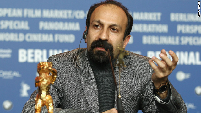  Asghar Farhadi speaks after winning the Golden Bear prize for his film, 