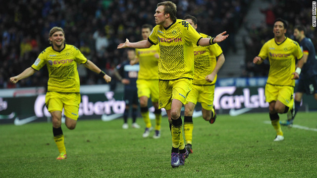 Kevin Grosskreutz celebrates scoring Borussia Dortmund's winner in their Bundesliga match against Hertha Berlin on Saturday.