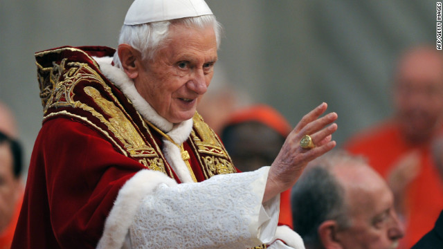 Pope Benedict XVI arrives for the Consistory where he will appoint 22 new cardinals on February 18, 2012.