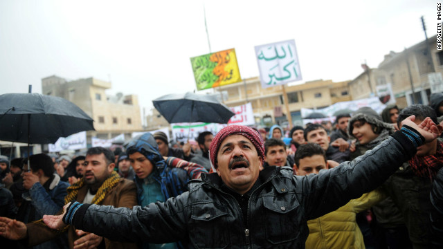 Syrians in the city of Idlib demonstrate Friday against the regime of Bashar al-Assad.