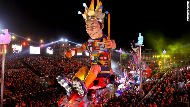 "The king's float parades during the 128th Nice Carnival on Saturday, February 18, in Nice, France. The carnival, which runs until March 4, celebrates the ""King of Sport"" -- a nod to the upcoming London Olympics."
