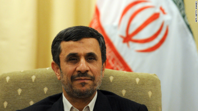 A group of people surrounded the car of Iranian President Mahmoud Ahmadinejad in the southern coastal city of Bandar-Abbas.