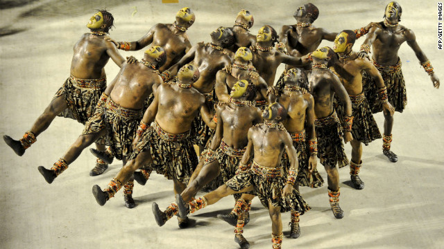 Members of the Vila Isabel samba school perform in the Sambadrome in Rio de Janeiro on Monday.