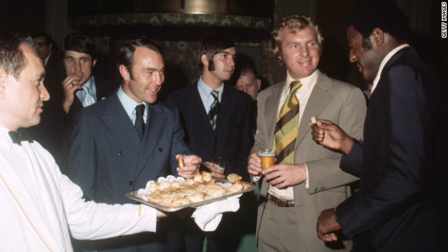 Best is seen here alongside West Ham legend Bobby Moore (center right) in the 1970s. Moore captained his country to World Cup glory when the competition was held in England in 1966.