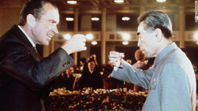 President Richard Nixon toasts with Chinese Premier Zhou Enlai in February 1972 in Beijing.