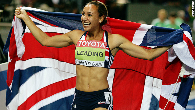 Jessica Ennis celebrates winning the gold medal at the 2009 IAAF World Championships in Berlin with a then personal best tally of 6,731 points. 
