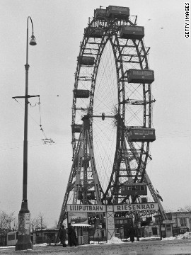 The famous Ferris wheel at the Prater amuseument park pictured around 1955, and which features in the Graham Greene-penned noir film &quot;The Third Man.&quot;