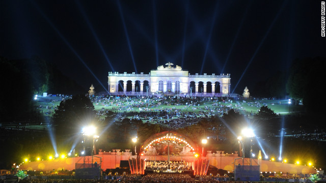 The city is a world-class destination for music lovers, and was once home to both Mozart and Beethoven<!-- -->.</br><!-- --> </br> Pictured is the Vienna Philharmonic Orchestra performing an open air concert against the backdrop of Schoenbrunn Palace in June 2011.