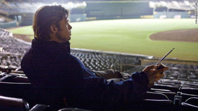Brad Pitt plays Oakland A's General Manager Billy Beane in &quot;Moneyball,&quot; a film based on the true story of Beane's creative use of computer-generated analysis to build a baseball team on a budget.