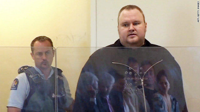 Megaupload founder Kim Dotcom, right, attends court in Auckland, New Zealand, on January 25.