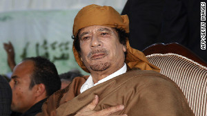 Moammar Gadhafi in February 2011 shortly after he said his people still loved him. 