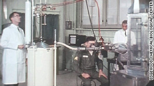A soldier volunteer and researchers conduct a test in 1963 at the Army\'s Edgewood Chemical Biological Center.