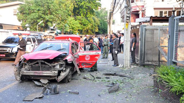 The bombing crime scene in Bangkok on February 22.