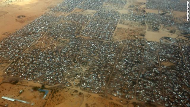 An aerial view of the Dagahaley refugee camp which makes up part of neighboring Kenya's giant Dadaab refugee settlement. The camp, near the Kenyan border with Somalia, was designed in the early 1990s to accommodate 90,000 people but, since the civil war and the worst drought to affect the horn of Africa in six decades, the U.N. estimates over four times as many reside there.