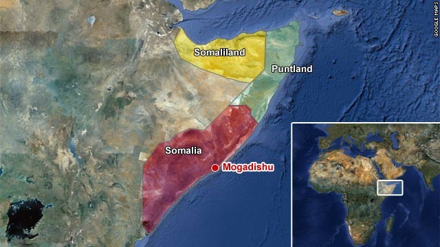 Somalia is divided into three regions: Somaliland and Puntland are semi-autonomous; the capital Mogadishu is in Somalia itself. 
