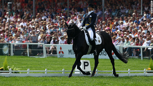 Klimke rides FRH Butts Abraxxas in the dressage at the UK's Badminton Horse Trials in 2011. 