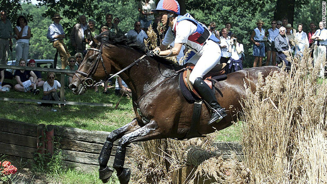 Klimke competing in a cross-country equestrian event in 2001.