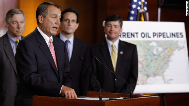 House Speaker John Boehner, at the podium, speaks in support of the Keystone XL crude oil pipeline.