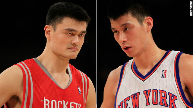 Chinese superstar Yao Ming (left) says he is following the career of rising Asian-American NBA star Jeremy Lin.