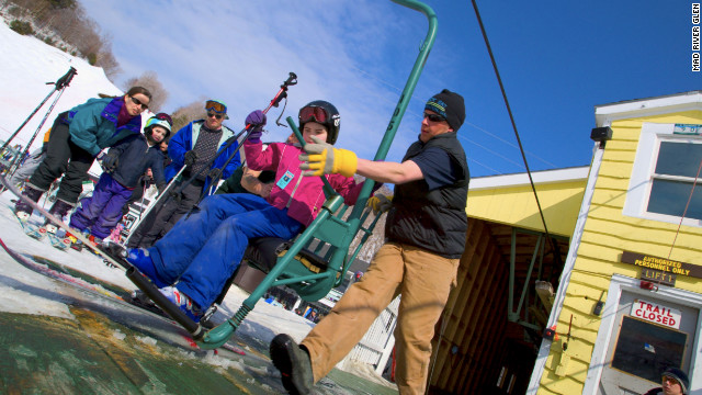 Mad River Glen's single chair lift is the last of its kind in North America.