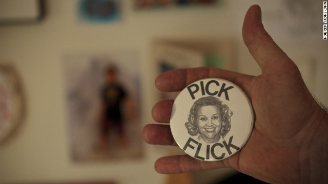 Tent holds one of the &quot;Pick Flick&quot; buttons Tracy Flick (Reese Witherspoon) handed out in &quot;Election.&quot;
