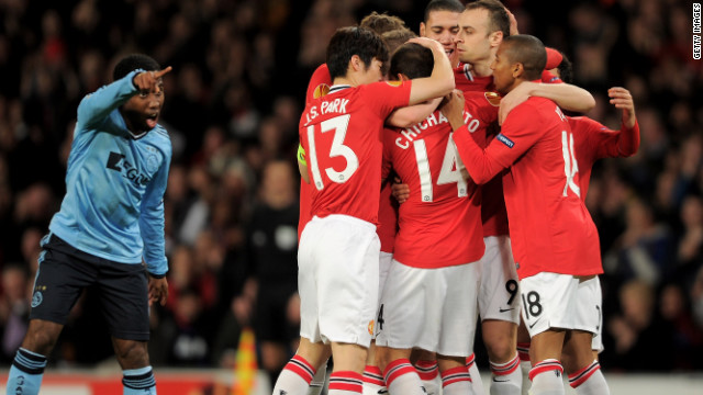 Manchester United celebrate Javier Hernandez's goal but they were beaten 2-1 by Ajax at Old Trafford