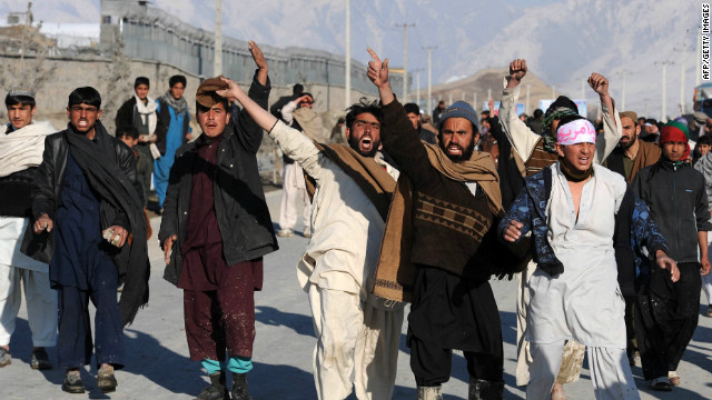 Afghan demonstrators shout anti-US slogans during a protest against Quran desecration in Kabul on February 24, 2012.