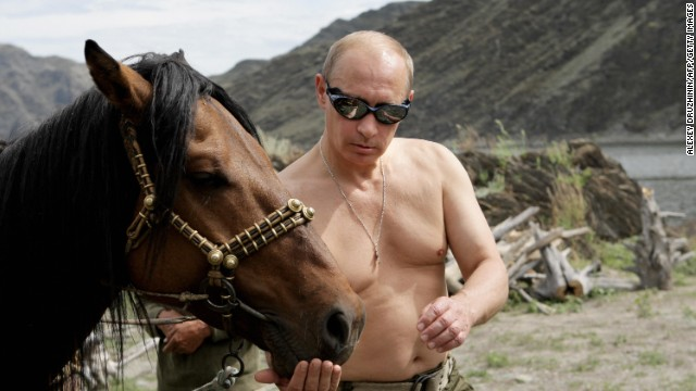 Putin pictured during his vacation in southern Siberia on August 3, 2009.