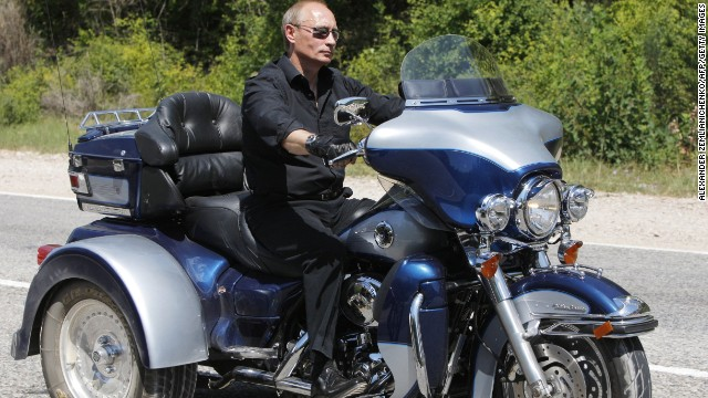 Putin rides a Harley-Davidson to an international biker convention in southern Ukraine on July 14, 2010.