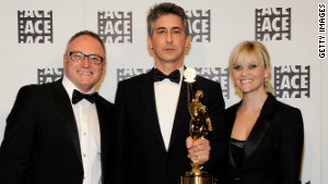 Both Tent, left, and Payne (with Reese Witherspoon) took home prizes at this year\'s ACE Eddie Awards.