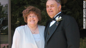 Kathy and Frank Korona pose for a photo at a July 2008 wedding reception.